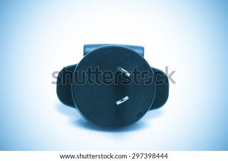 adapter plug, blue tone process - stock photo