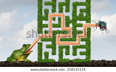 Adapting to challenges being flexible concept as a green frog with a tongue solving a maze made of plants to catch a fly as a solution metaphor for adaptive success through learning and skill. - stock photo