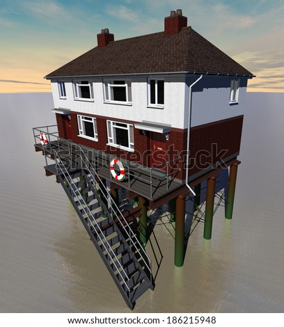 Adapting to the Future - semi-detached house on stilts in flood - stock photo