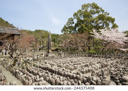 Adashinonenbutsuji Buddhist temple in Ukyo-ku, Kyoto, Japan - stock photo