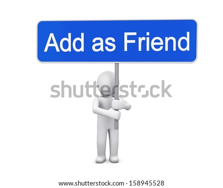 add as friend 3d render - stock photo