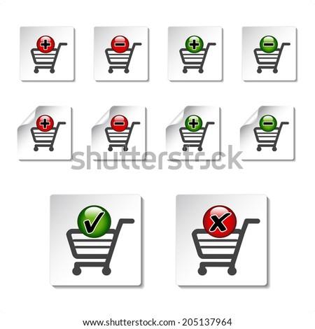 add delete shopping cart item, symbols of shopping trolley - stock photo
