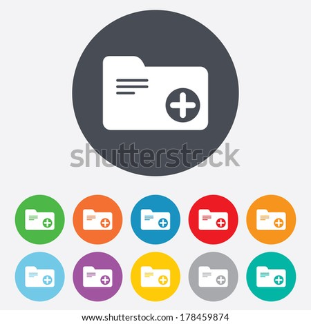 Add document folder sign. Accounting binder symbol. Bookkeeping management. Round colourful 11 buttons. - stock photo
