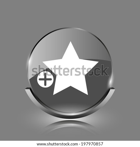Add to favorites icon. Shiny glossy internet button on grey background.