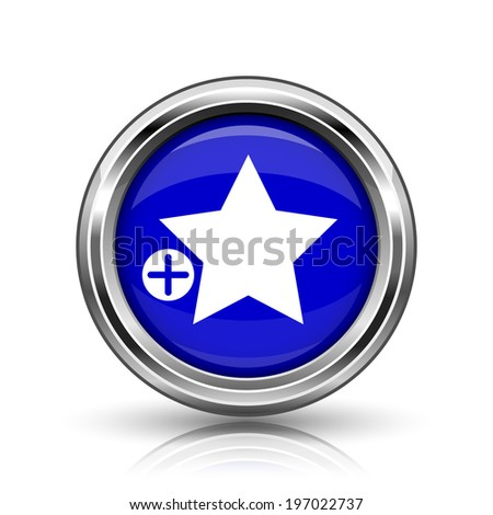 Add to favorites icon. Shiny glossy internet button on white background.