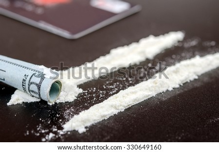 addiction, Cocaine line track, syringe, heroin - stock photo