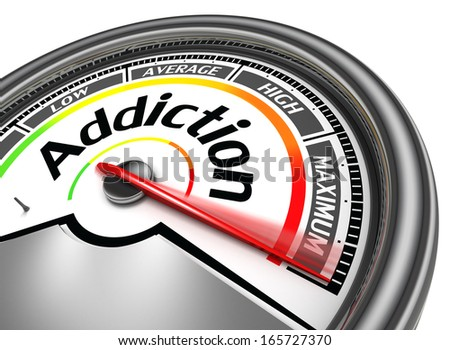 addiction conceptual meter indicate maximum, isolated on white background - stock photo