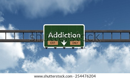 Addiction Highway Road Sign Exit Only Concept 3D Illustration