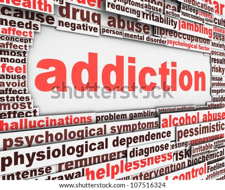 Addiction message design. Substance or drug dependence conceptual design - stock photo