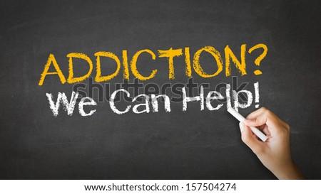 Addiction We can Help Chalk Illustration - stock photo