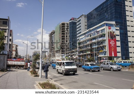 ADDIS ABABA, ETHIOPIA-OCTOBER 31, 2014; Unidentified people go about their business in downtown Addis Ababa, Ethiopia - stock photo