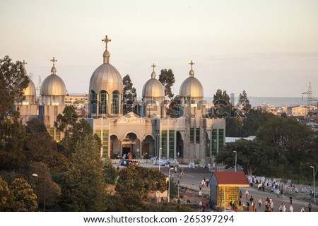 ADDIS ABABA, ETHIOPIA-OCTOBER 31, 2014: Unidentified worshippers conduct a church service at a large Ethiopian Orthodox church in Addis Ababa, Ethiopia - stock photo
