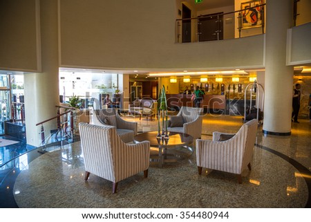 Addis Ababa, Etiopia - December 1st 2015 - The brand new Marriot apartments Hotel in downtown Addis Ababa, capital of Etiophia, Africa. - stock photo
