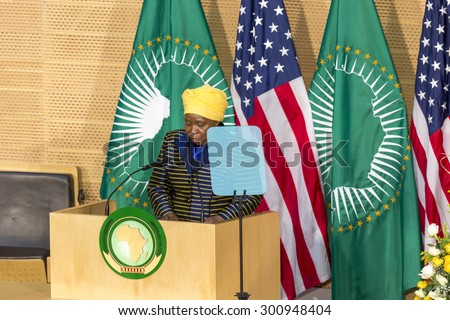 Addis Ababa - July 28: H.E. Dr. Dlamini Zuma, Chairperson of the AUC, delivers a keynote speech at the Nelson Mandela Hall of the AU Conference Centre, on July 28, 2015, in Addis Ababa, Ethiopia. - stock photo