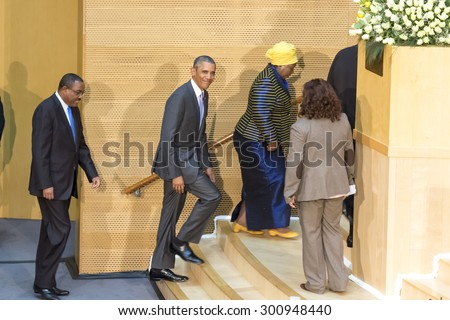 Addis Ababa - July 28: President Obama enters the Nelson Mandela Hall of the AU Conference Centre, to deliver a keynote speech, on July 28, 2015, at the in Addis Ababa, Ethiopia. - stock photo