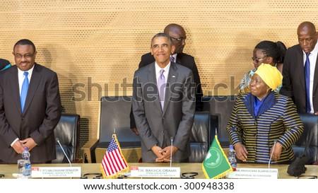 Addis Ababa - July 28: President Obama, PM Hailemariam Desalegn, and Dr. Dlamini Zuma, take their designated seats at the Nelson Mandela Hall of the AU, on July 28, 2015, in Addis Ababa, Ethiopia. - stock photo