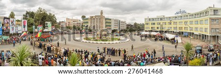 Addis Ababa - May 5: Ethiopian celebrate the 74th anniversary of Patriots' Victory day commemorating Ethiopaâ??s victory over the invading Italians on May 5, 2015 in Addis Ababa, Ethiopia. - stock photo