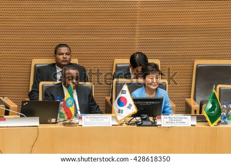Addis Ababa - May 27: H.E. Dr. Nkosazana Dlamini Zuma, Chairperson of the AUC, and H.E., MME, Park Geun-Hye, President, Republic of Korea, on May 27, 2016, in Addis Ababa, Ethiopia. - stock photo