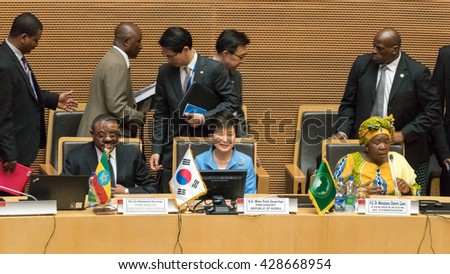 Addis Ababa - May 27: H.E. MME. Park Geun-Hye, President South Korea visits the African Union Commission accompanied by Prime Minister of Ethiopia, on May 27, 2016, in Addis Ababa, Ethiopia. - stock photo