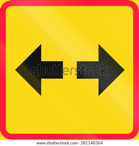 Additional traffic sign in Finland - Sign applies both directions - stock photo