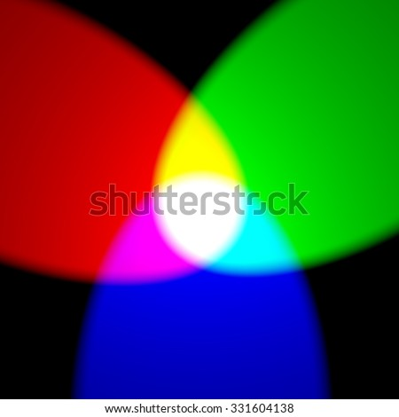 Additive color model RGB - primary red, green, and blue colors with yellow, purple, cyan and white on black wall - stock photo
