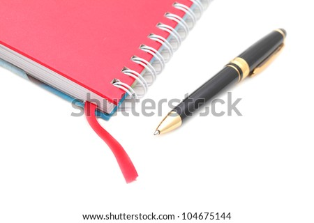 Address book & pen with copy space in all sections - stock photo