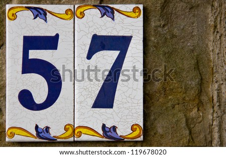 address number from a village house - stock photo