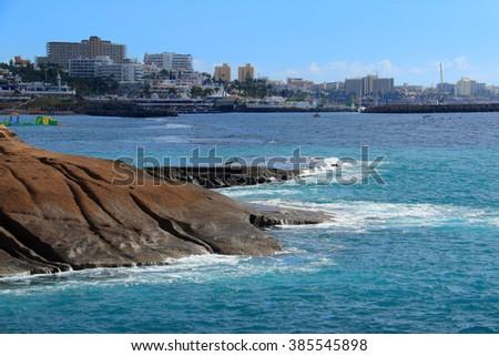 Adeje coast in Tenerife, Canary island, Spain. - stock photo