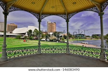 Adelaide and Torrens River framed by the Elder Park Rotunda - stock photo