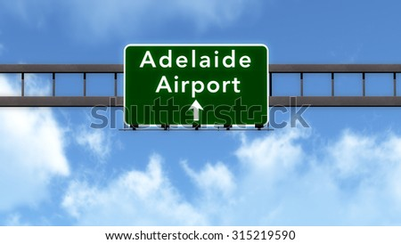 Adelaide Australia Airport Highway Road Sign 3D Illustration