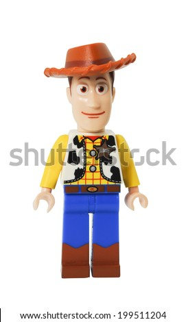 ADELAIDE, AUSTRALIA - April 14 2014:A studio shot of a Woody Lego minifigure from the Disney movie series Toy Story. Lego is extremely popular worldwide with children and collectors. - stock photo