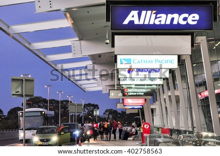 Adelaide, Australia - April 7, 2012: Airport Exterior, drop off station at Adelaide Airport