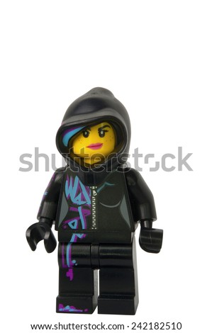 ADELAIDE, AUSTRALIA - August 26 2014:A studio shot of a Wyldstyle Lego minifigure from the Lego movie. Lego is extremely popular worldwide with children and collectors. - stock photo
