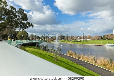 Adelaide, Australia - August 02, 2014: Adelaide city beside Torrens River