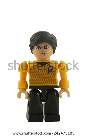 ADELAIDE, AUSTRALIA - December 24 2014:A studio shot of a Spock Kre-o figure. Star Trek is extremely popular science fiction tv and movie series.