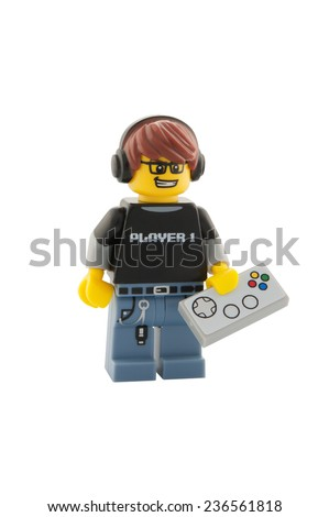 ADELAIDE, AUSTRALIA - December 06, 2014: A studio shot of a Video Game Guy Lego Minifigure from series 12. Lego is very popular with children and collectors worldwide. - stock photo