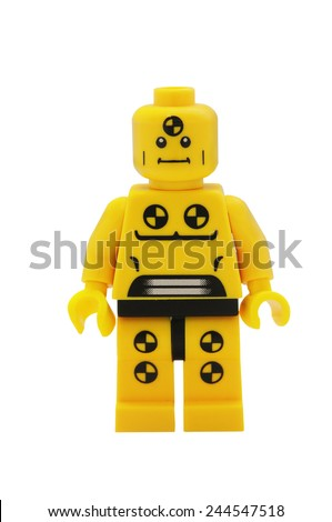 ADELAIDE, AUSTRALIA - January 09 2015:A studio shot of a Demolition Dummy Lego minifigure from the series 1 isuue in 2010. Lego is extremely popular worldwide with children and collectors. - stock photo