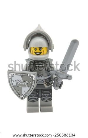 ADELAIDE, AUSTRALIA - January 09 2015:A studio shot of a Heroic Knight Lego minifigure from Minifigure Series 9. Lego is extremely popular worldwide with children and collectors. - stock photo