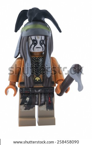 ADELAIDE, AUSTRALIA - January 09 2015:A studio shot of a Tonto Lego minifigure from the movie and TV Series. Lego is extremely popular worldwide with children and collectors.