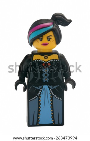 ADELAIDE, AUSTRALIA - January 30 2015:A studio shot of a Wyldstyle Lego minifigure from the Lego Movie. Lego is extremely popular worldwide with children and collectors. - stock photo