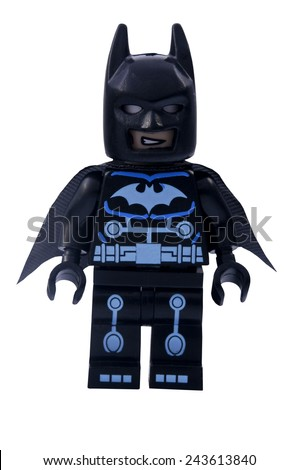 ADELAIDE, AUSTRALIA - January 06 2015:A studio shot of an Electro Batman Lego minifigure from the DC Comics and Movies. Lego is extremely popular worldwide with children and collectors. - stock photo