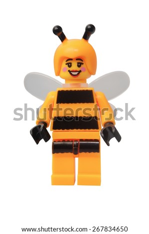 ADELAIDE, AUSTRALIA - March 27 2015:A studio shot of a Bumblebee Girl Lego minifigure. Lego is extremely popular worldwide with children and collectors. - stock photo