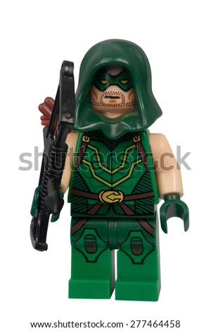 ADELAIDE, AUSTRALIA - March 27 2015:A studio shot of a Green Arrow Custom Lego minifigure from the DC Comics Universe. Lego is extremely popular worldwide with children and collectors. - stock photo