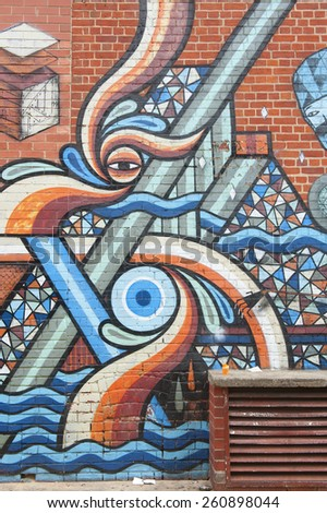 ADELAIDE, AUSTRALIA - March 15 2015: Street art by unidentified artist. Adelaide local councils recognises the importance of street art in creating a vibrant city. - stock photo