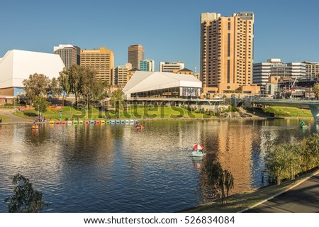 Adelaide Australia 17 May 2015 Adelaide's River Torrens flows through the city center and has many attractions along the riverbank walkways