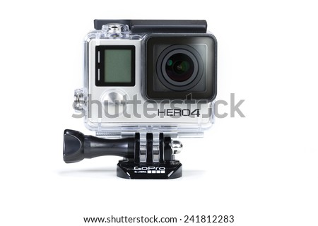 Adelaide, Australia - Oct 13: Studio shot of GoPro Hero 4 Black on Oct 13, 2014. It is a compact, lightweight personal camera manufactured by GoPro Inc.