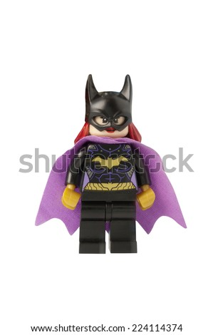 ADELAIDE, AUSTRALIA - October 17 2014:A studio shot of a Bat Girl Lego minifigure from the DC Comics and Movies. Lego is extremely popular worldwide with children and collectors. - stock photo