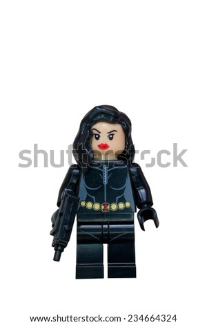 ADELAIDE, AUSTRALIA - October 27 2014:A studio shot of a Black widow Lego Compatible minifigure from the Marvel comics and movies. Lego is extremely popular worldwide with children and collectors. - stock photo