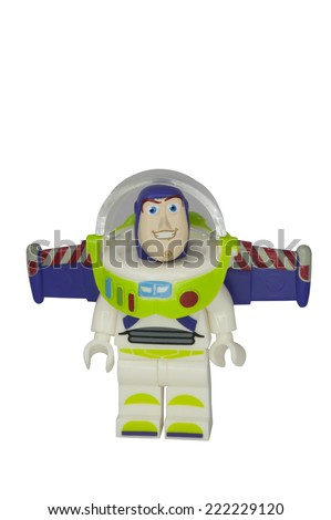 ADELAIDE, AUSTRALIA - October 06 2014:A studio shot of a Buzz Lightyear Lego Compatible minifigure from the Toy Story Movie series. Lego is extremely popular worldwide with children and collectors. - stock photo