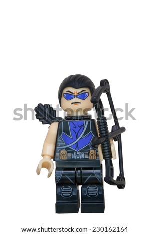 ADELAIDE, AUSTRALIA - October 27 2014:A studio shot of a Hawkeye Lego Compatible minifigure from the Marvel comics and movies. Lego is extremely popular worldwide with children and collectors.